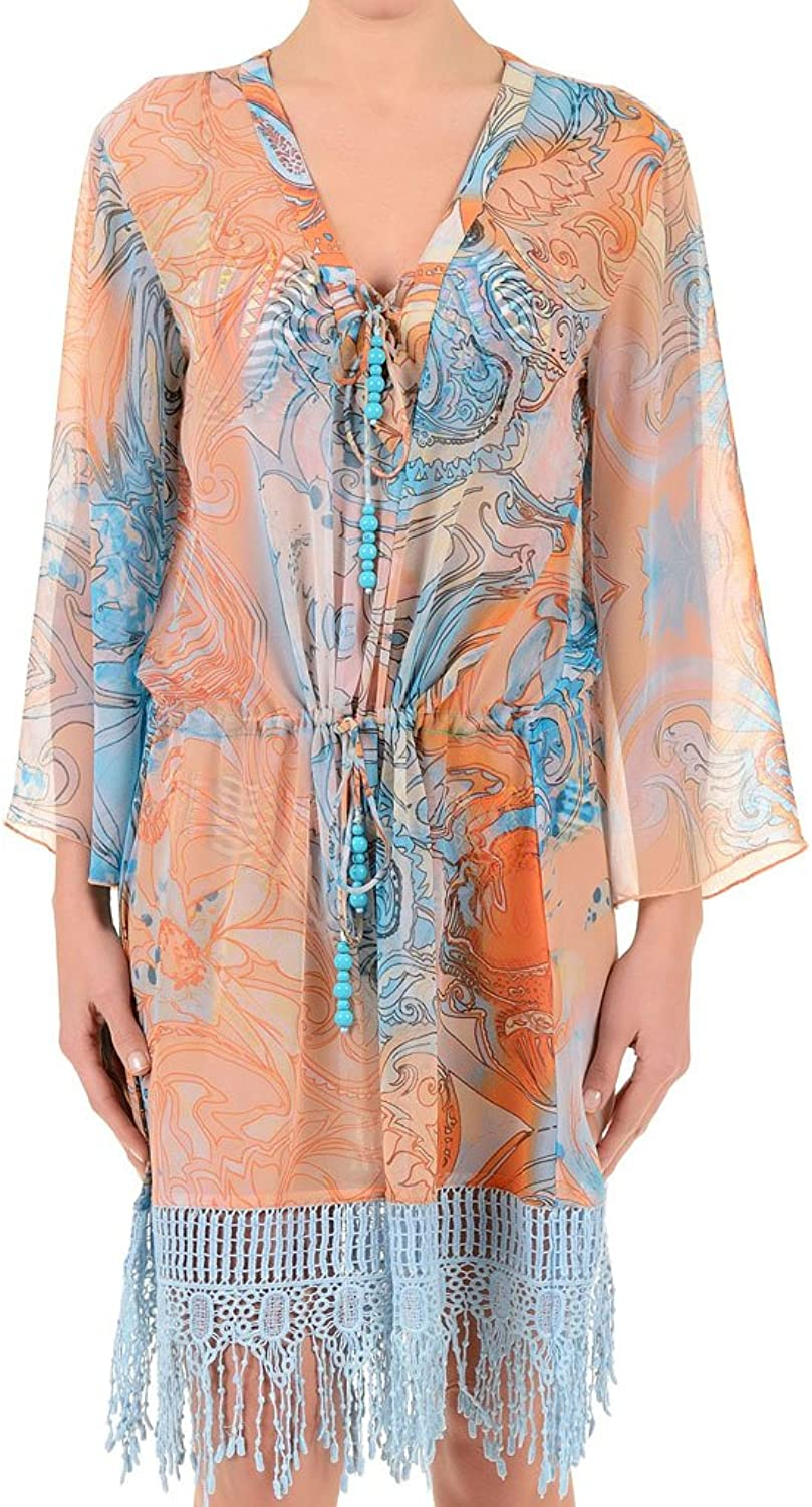 David DA7079 Women's Deco orange and bluee Beach Dress Kaftan