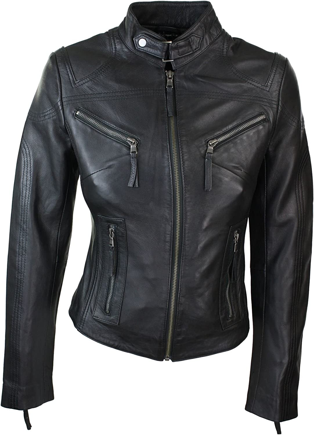 Infinity Ladies Real Leather Biker Style Fashion Jacket Black