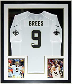 Drew Brees Signed Authentic Nike New Orleans Saints Jersey - JSA COA Authenticated - Professionally Framed & 2 Super Bowl 8x10 Photo 34x42