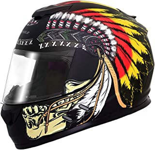 Triangle Full Face Lightweight, Aerodynamic, Comfortable Street Bike Motorcycle Helmets DOT Approved (Medium, Indian Yellow)