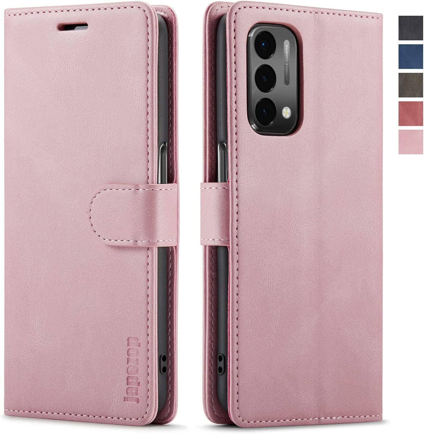 OnePlus Nord N200 5G Case,OnePlus Nord N200 5G Wallet Case for Women with [RFID Blocking] Card Holder Kickstand Magnetic,Leather Flip Case for OnePlus Nord N200 5G 6.49 Inch (Pink)