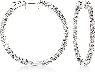 Ross-Simons 3.00 ct. t.w. Diamond Inside-Outside Hoop Earrings in Sterling Silver