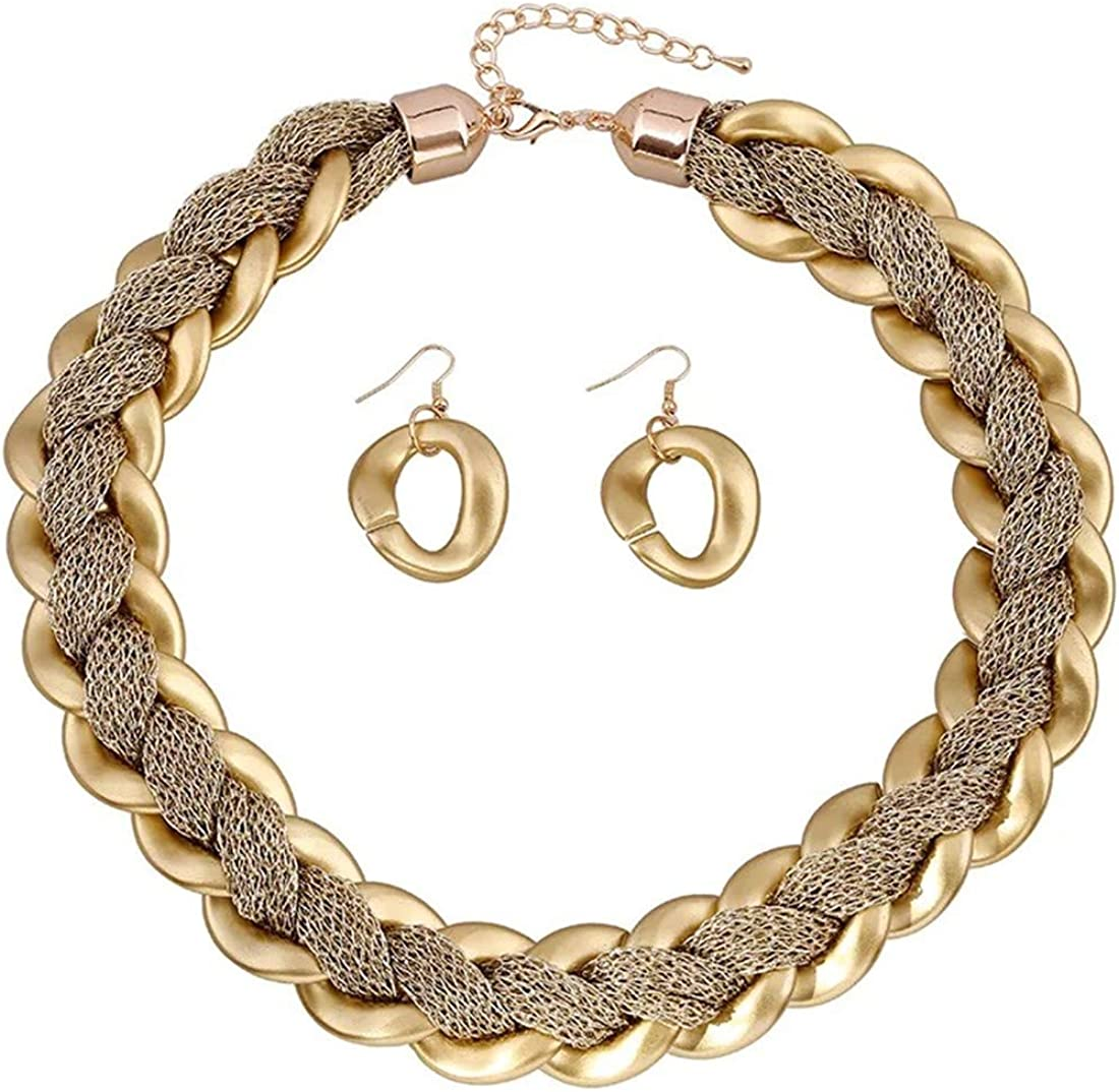 African Style Women's Big Choker Statement Necklace Short Collar Gold Necklace Earring for Women Fashion Jewelry Set