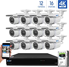 GW 16-Channel 4K H.265 Complete CCTV Security System with (12) x HD 8MP 2160P Outdoor/Indoor 2.8-12mm Varifocal Zoom 4K Bullet Security Cameras and 4TB HDD, QR Code Scan Free Remote View