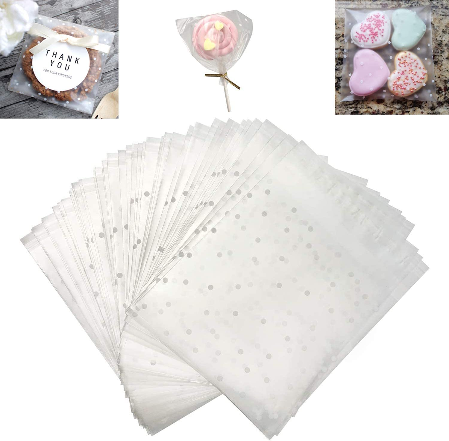 ICEYLI 100Pcs White Polka Dot Chocolate Candy Gift Bags Cellophane Bag Cookie Bag,Frosted Self-adhesive Packaging Bag Bag Translucent (3.9 x 3.9 inches)