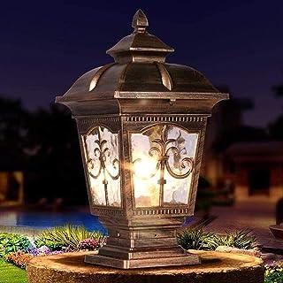 Outdoor Waterproof Column Lamp Glass Lantern Country Lawn Lamp Garden Way Street Light Patio Pillar Post Lamp Park E27 Dec...
