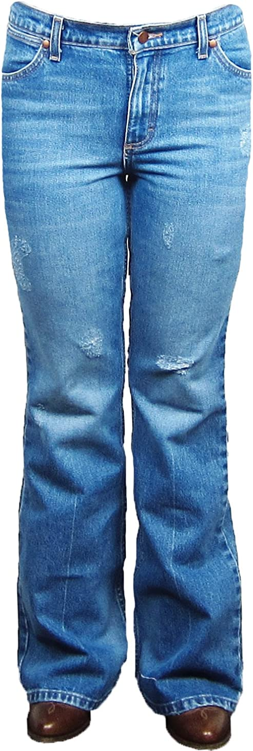 Wrangler Distressed Financial sales sale Flare 11MWFCD Leg Mail order cheap Jeans