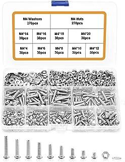 810 Pcs M4 x 4/6/8/10/12/14/16/18/20 mm Screw Assortment Kit 304 Stainless Steel Machine Screws Phillips Pan Head Screws B...