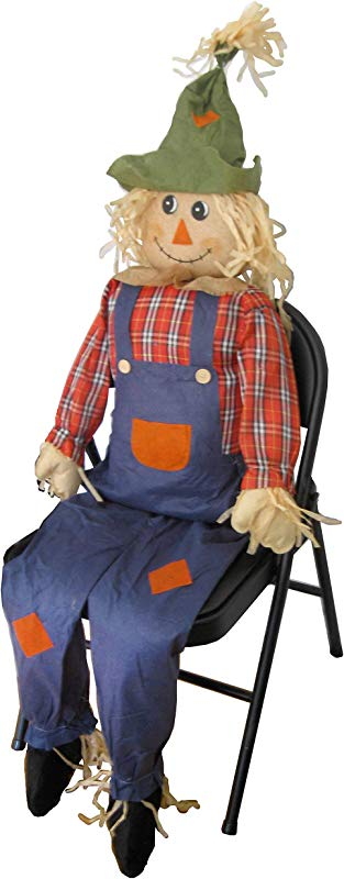 Sheerlund Products Large Scarecrow Sitter Fall Harvest Halloween Decoration 63
