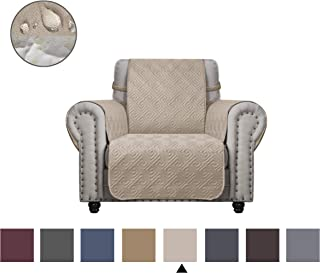 DEARTOWN Sofa Cover with Anti-Skip Dog Paw Print 100% Waterproof Quilted Furniture Protector Sofa Slipcover for Children, Pets for Leather Couch (Beige, Chair)