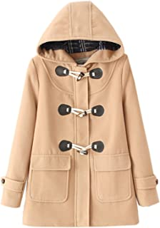 Elonglin Women Duffle Coat Woolen Fleece Trench Coat Hooded Horn Buttons