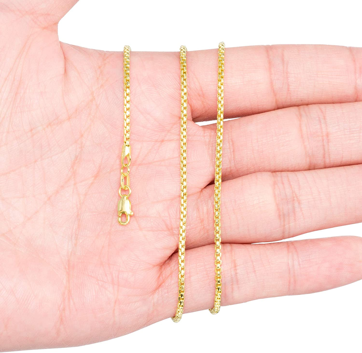 Nuragold 10k Yellow Gold 2mm Round Box Chain Venetian Link Pendant Necklace, Mens Womens Lobster Lock 16
