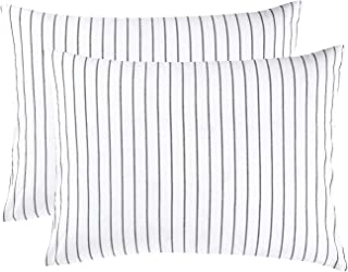 Wake In Cloud - Pack of 2 Pillow Cases, 100% Washed Cotton Pillowcases, White with Black Vertical Ticking Striped Pattern (King Size, 20x36 Inches)