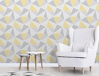 Fine Decor FD41991 UK Apex Geo Sidewall Wallpaper, Yellow/Grey