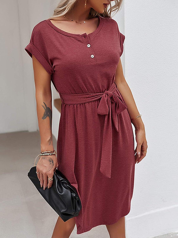 Bequemer Laden Women/'s Summer Button Down Dresses Crewneck Tie Waist Belt Casual Midi Dress