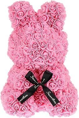 STOBOK Lapin Rose Artificielle Rose Fleur pour Toujours Rose Éternelle Fleur pour Fenêtre Affichage Anniversaire Saint Valent