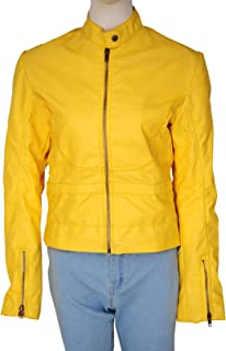 TrendHoop Women Megan Yellow Full Zip Faux Leather Biker Jacket | Medium Size