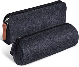 Kuuqa Dark Gray Felt Pen Pencil Case Stationery Pouch Bag Case Cosmetic Bags, Set of 2