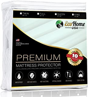 Eco Home USA Premium Mattress Pad Protector - Waterproof & Hypoallergenic Cover - Vinyl Free, Terry Cotton Topper (Full)
