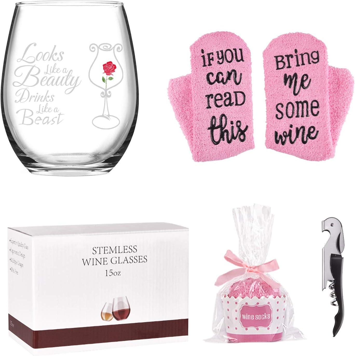 Looks Like a Beauty Drinks Beast Funny Max 80% OFF Glass Special sale item W 15Oz Wine