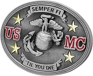 Buckle Rage Adult Unisex Semper Fi US Marine Corps Till Die Belt Buckle Silver
