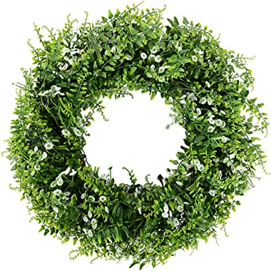 20 Inch Green Wreath with Gypsophila Flowers, Babies Breath Flowers Artificial Boxwood Wreath Farmhouse Decor, Door Wreaths for All Seasons Green Wreaths for Indoors Outdoors, Easter on Wall Window