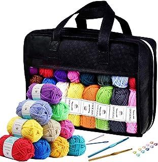 Inscraft アクリル毛糸 52色セット 1玉16g カギ針 とじ針 段数マーカー付き 柔らかい糸 たわし マフラー 帽子 編み物 小物 デコレーション ケース付き 母の日プレゼント ギフト