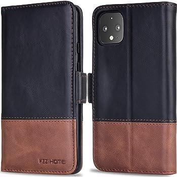 KEZiHOME Pixel 4 XL Case, Genuine Leather Pixel 4 XL Wallet Case RFID Blocking Credit Card Slot Flip Magnetic Clasp Stand Shockproof Case for Google Pixel 4 XL (2019 Release) (Black/Brown)