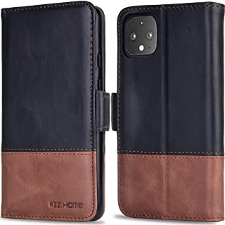 KEZiHOME Pixel 4 XL Case, Genuine Leather Pixel 4 XL Wallet Case RFID Blocking Credit Card Slot Flip Magnetic Clasp Stand Shockproof Case for Google Pixel 4 XL (2019 Release) (Black/Brown)