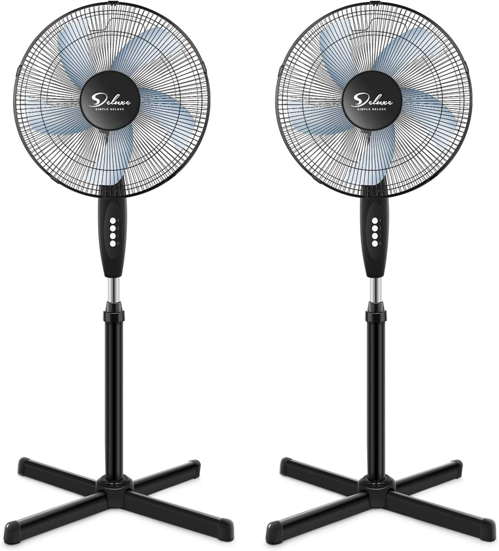 HealSmart Oscillating Seattle Mall 16″ Raleigh Mall 3 Adjustable Speed Pedestal Fan Stand