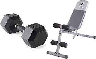 A.T. Products Corp. Cap Barbell Polyurethane Infused Dumbbell, 30 lbs. Bundle with Gold's Gym XR 5.9 Adjustable Slant Workout Weight Bench