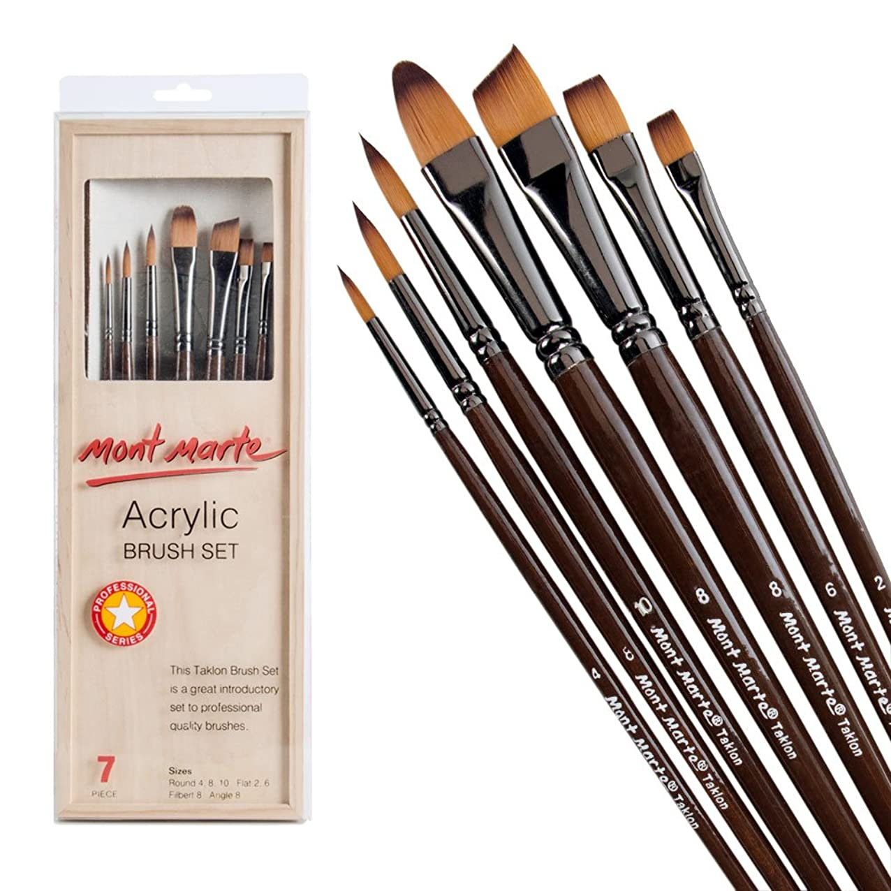 Mont Marte Acrylic Brush Set In Box, 7 Piece. Excellent Selection Of Common Brushes Used For Acrylic Painting Including Round, Flat, Filbert And Angle. uqdlxydpwgmuf952