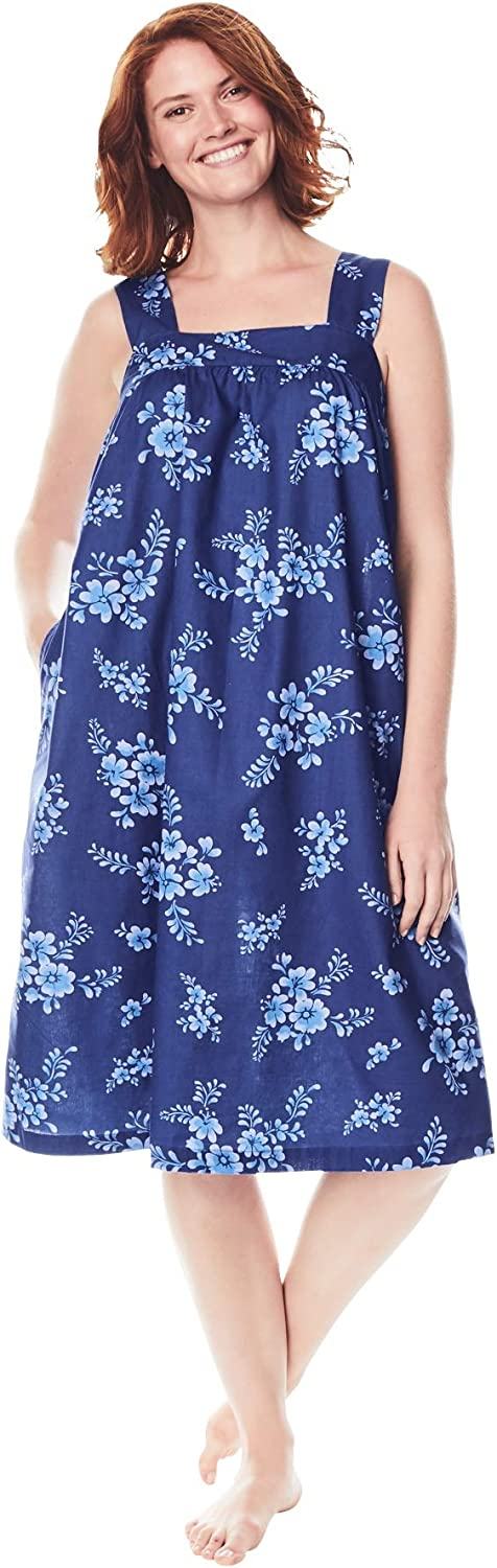 Dreams & Co. Women's Plus Size Print Sleeveless Square Neck Lounger House Dress or Nightgown
