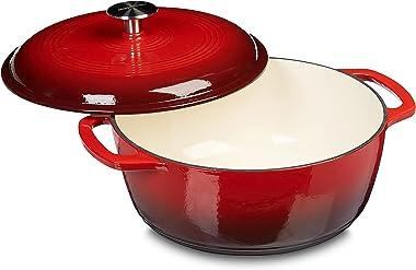Amazon Basics Enameled Cast Iron Covered Dutch Oven, 6-Quart, Red