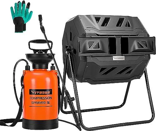 lowest VIVOSUN Dual Rotating outlet online sale new arrival Batch Compost Bin with 1.3 Gallon Garden Pump Pressure Sprayer online