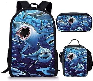 Dinosaur Shark School Bag and Lunch Bag Estuche para lápices para niños escuela primaria mochila con soporte para botellas Azul Shark-3 - Bolsa escolar L