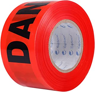 TopSoon Red DANGER Tape Caution Tape Roll 3-Inch by 1000-Feet Non-Adhesive Sharp Red Color Warning Tape