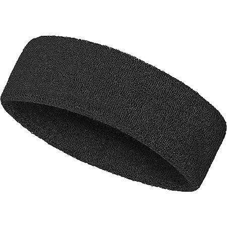 SATINIOR Unisex Adult Sweatband Headbands Moisture Wicking Athletic Terry Cloth Sweat-Wicking Sport Elastic Headband (Black)