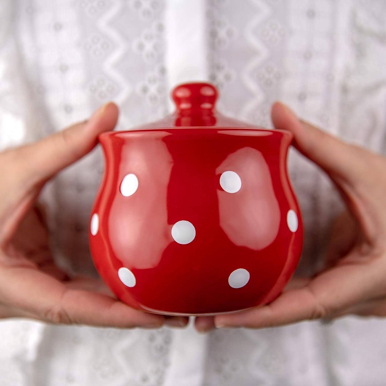 Handmade Red and White Polka Popular Spasm price Dot With Li Ceramic Bowl Sugar Pot