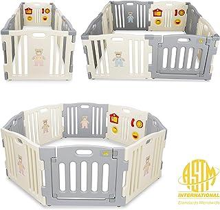 Kidzone Baby Interactive Playpen 8 Panel Safety Gate Children Play Center Child Activity Pen ASTM Certified, Grey - White