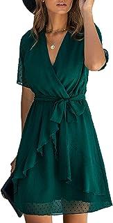 Spec4Y Damen Kleider V-Ausschnitt Vintage Langarm Rüschen Punkte Sommerkleid Knielang Swing Strandkleid Sommer