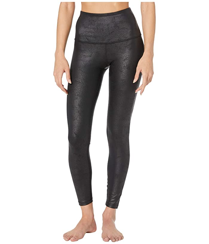 Beyond Yoga  Luxe Leatherette High-Waisted Midi Leggings (Black/Matte Black Foil) Womens Casual Pants