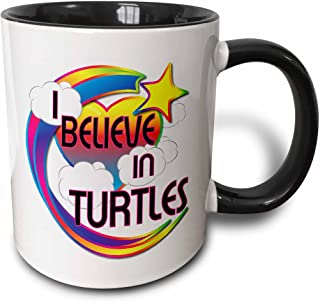 3dRose mug_166978_4 I Believe In Turtles Cute Believer Design - Two Tone Black Mug, 11oz