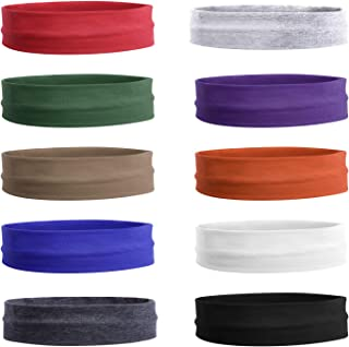 """Teemico 10 Pack 2"""" Cotton Headbands Pack Stretch Elastic Yoga Soft and Stretchy Sports Sweatbands Fashion Headband for Tee..."""
