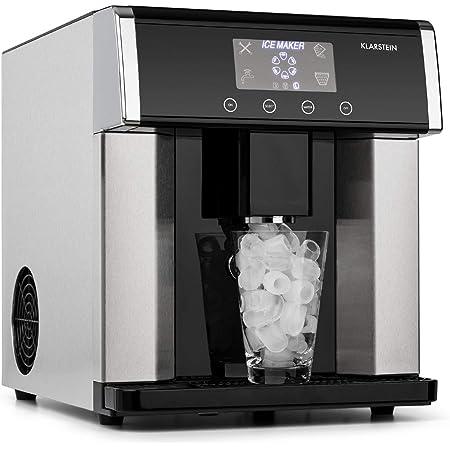 KLARSTEIN Ice Age - Machine à glaçons, Ice maker, 15 kg de glace/jour, Ecran LCD intuitif, 3 tailles de glaçons, Réservoir d'eau de 3L, Remplissage manuel ou automatique - Noir