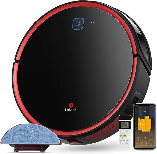 Aspirateur Robot Laveur Lefant-T700 Connecté Wi-FI et Alexa, Aspiration Forte 2200Pa avec réservoir d'eau 300ml, 3 Mo...