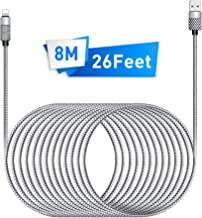 Cell Phone Charger, Takya Charging Cord 26FT/8M Super Long Nylon Braided High Speed Connector USB Cable Charger Cord Compatible with Phone XS/XR/X / 8/8 Plus / 7/7 Plus / 6/6 Plus and More