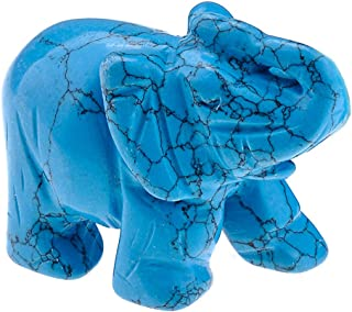 JOVIVI Synthetic Blue Turquoise Carved Gemstones Elephant Crystal Figurine 2'' Room Decoration, with Gift Box (Blue Turquoise)