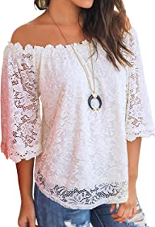 MIHOLL Women's Lace Off Shoulder Tops Casual Loose Blouse...