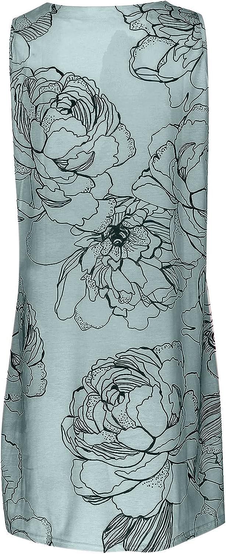 FRSH MNT Casual Tank Dress for Womens Summer Retro V-Neck A Line Dress Loose Vest Knee Length Skirt Dresses
